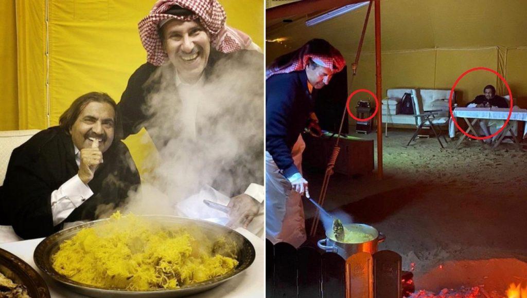 """شاهد : أمير قطر السابق  و  حمد بن جاسم  و زجاجة  """" وسكي """" داخل خيمة !"""