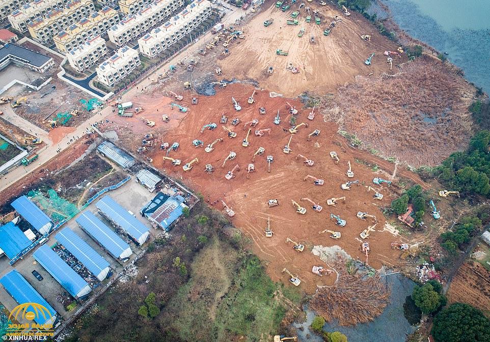 شاهد بالصور: الصين تتحدى الزمن وتعلن بناء مستشفى ضخم خلال 6 أيام  لمواجهة تفشي فيروس كورونا