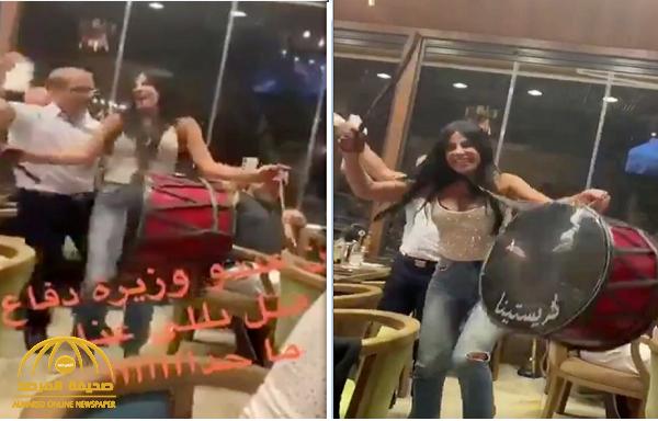 شاهد .. فيديو منسوب لوزيرة الدفاع اللبنانية الجديدة وهي ترقص وتقرع الطبلة مع سفير !
