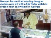 """شاهد: سيدة أمريكية """"سوداء"""" تسرق ساعة روليكس ثمينة بطريقة مخادعة – فيديو"""