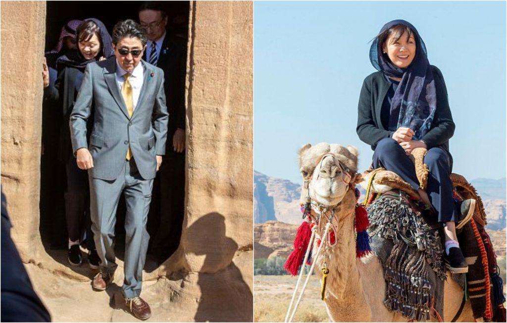 شاهد بالفيديو والصور : رئيس الوزراء الياباني وزوجته يزوران مدائن صالح