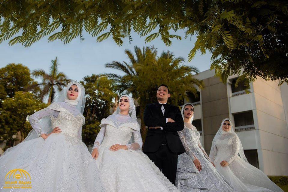 لتحقيق أمنية والدته.. شاهد بالصور: شاب مصري يقيم حفل زفاف على 4 فتيات دفعة واحدة !