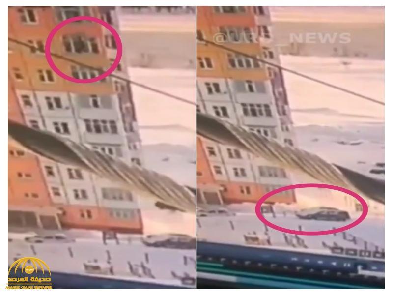 شاهد: امرأة تسقط من الطابق التاسع على الأرض ..  وحدثت مفاجأة لا تصدق!