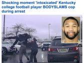 شاهد : لاعب أمريكي في حالة سكر  يهاجم ضابط شرطة ويرفعه في الهواء ويسقطه على الأرض