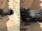 شاهد : حادث مروع لسيارة انقلبت في حفرة وبداخلها 3 فتيات بالرياض .. والكشف عن حالتهن