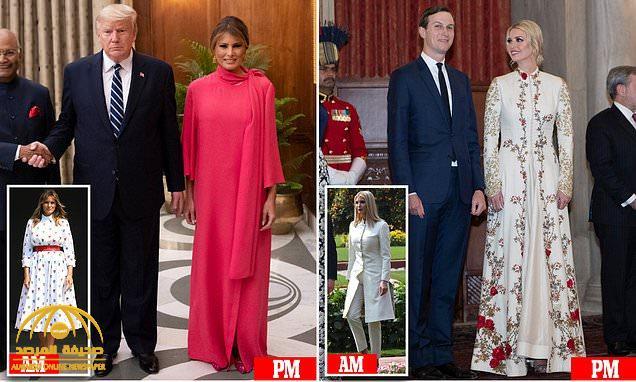 """شاهد : ميلانيا وإيفانكا تتألقان في """"الثوب الهندي"""" ويظهران بإطلالة مختلفة.. ولأول مرة زوجة ترامب ترتدي هذا الحذاء!"""