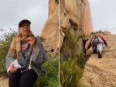 شاهد .. أول سعودية تتسلق جبل الشفا بالطائف