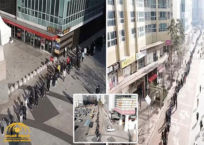 """بالفيديو والصور : شاهد طابور بشري لآلاف الأشخاص في كوريا الجنوبية للحصول على """"الكمامات"""""""