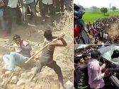 """شاهد : عملية قتل جماعية شرسة يرتكبها أهالي قرية هندية تجاه 6 مزارعين بسبب """"شائعة كاذبة"""""""