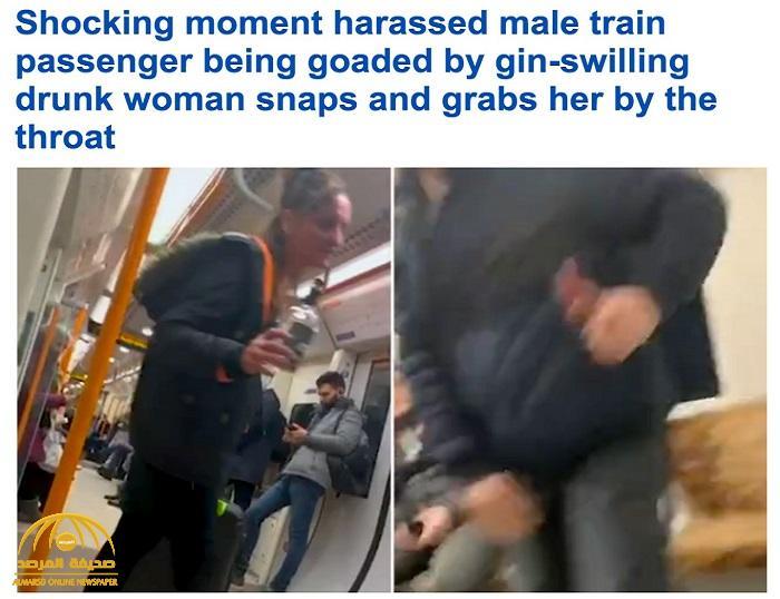 شاهد :  فيديو  سيدة بريطانية في حالة غير طبيعية  تبصق على ركاب قطار وتصفهم بالإرهابيين