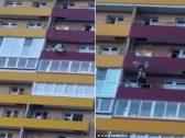 بطريقة لا تصدق .. شاهد : رجل يلتقط فتاة أثناء سقوطها من الطابق الـ 14  في اللحظات الأخيرة