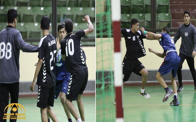 شاهد .. معركة بين فريقي العمران والعدالة لكرة اليد في الأحساء خلال مباراة مصيرية