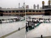 شاهد .. لحظة هطول الأمطار على المسجد الحرام