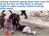 شاهد : عصابة تعتدي على رجل في لندن بعصا جولف .. وشجاعة امرأة محجبة تنقذ الموقف !