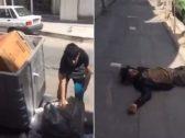 """شاهد: فيديو """"مأساوي"""" لمواطن إيراني مشرد وآخر يبحث في القمامة.. وموثق المقطع: """"خامنئي منشغل بصواريخ الحوثي وحزب الله"""""""