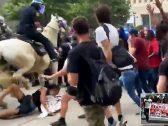 """شاهد .. شرطي أمريكي يدهس متظاهرة سوداء بالحصان في """"هيوستن"""""""