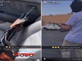 """شاهد .. شاب يطلق النار من """"رشاش"""" في أحد شوارع الرياض"""