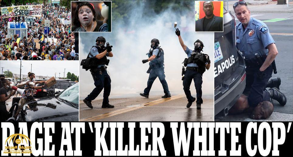 """شاهد: الشرطة الأمريكية تطلق الغاز المسيل للدموع لتفريق متظاهرين طالبوا باعتقال 4 رجال شرطة """"بيض"""" قتلوا رجل أسود خنقا"""