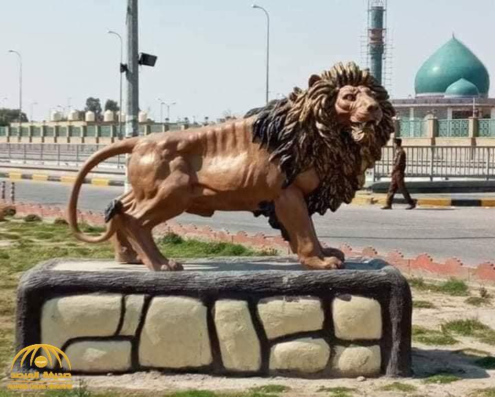 """تكلفة  مجسم """"أسد الله الغالب"""" في أحد شوارع مدينة النجف تثير غضب العراقيين"""