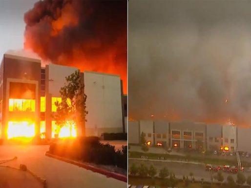 """شاهد: حريق ضخم في مستودعات أمازون المملوكة لـ """"جيف بيزوس"""" بكاليفورنيا"""