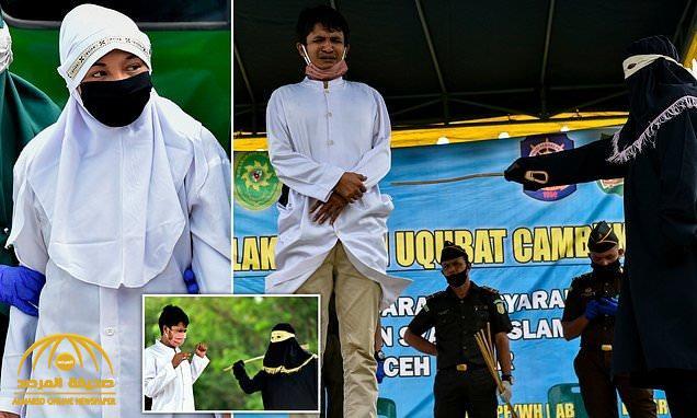 شاهد: جلد رجل وامرأة في إندونيسيا 100 جلدة بتهمة الزنا !