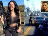 شاهد : ردة فعل شرطية أمريكية تجاه شاب حاول الاقتراب منها حاملًا سكينًا  في لوس أنجلوس