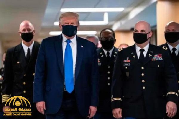 """شاهد .. ترامب لأول مرة يضع """"كمامة"""" منذ إعلان وباء كورونا"""