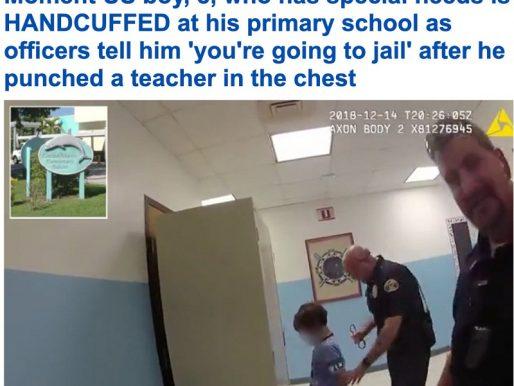 """شاهد .. ضابط أمريكي يقيد طفلاً  بـ """"الكلبشة"""" داخل مدرسة!"""